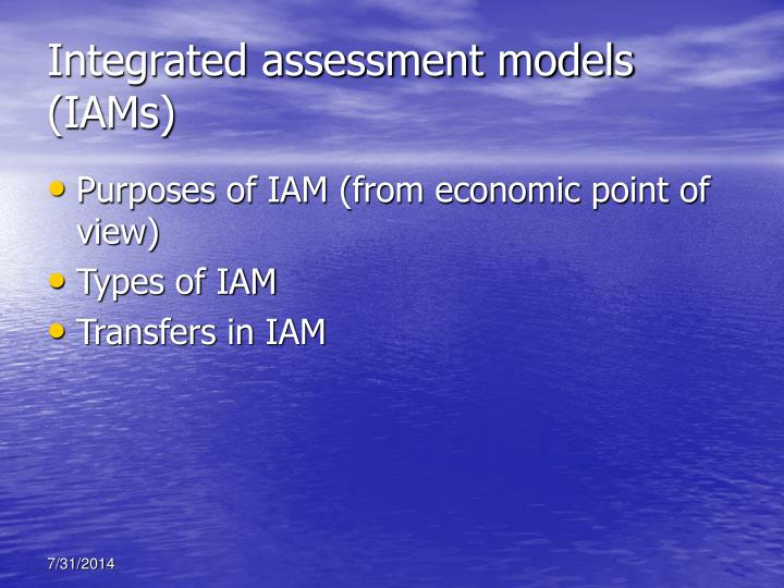 Integrated assessment models (IAMs)