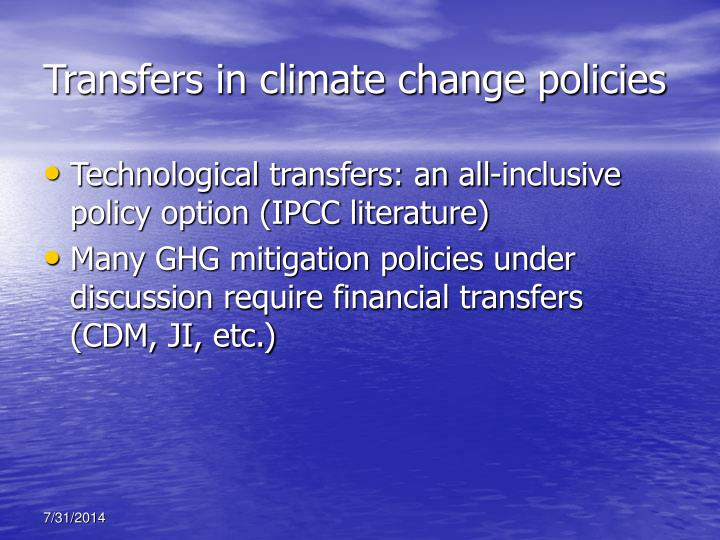Transfers in climate change policies