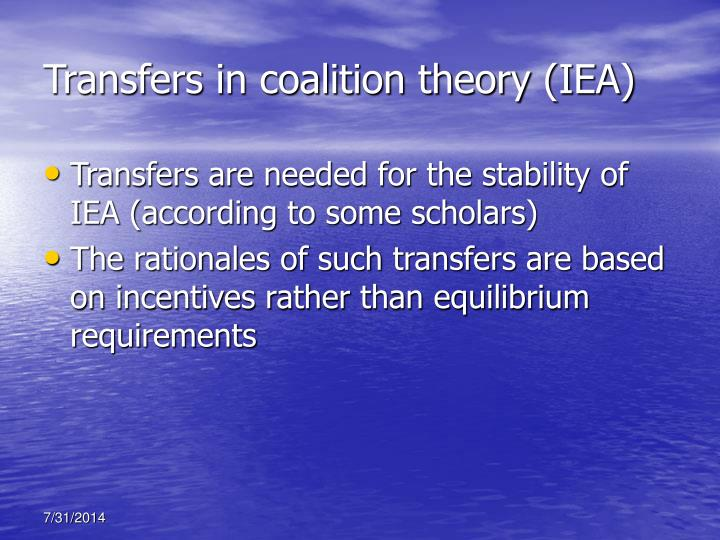 Transfers in coalition theory (IEA)