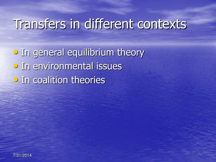 Transfers in different contexts