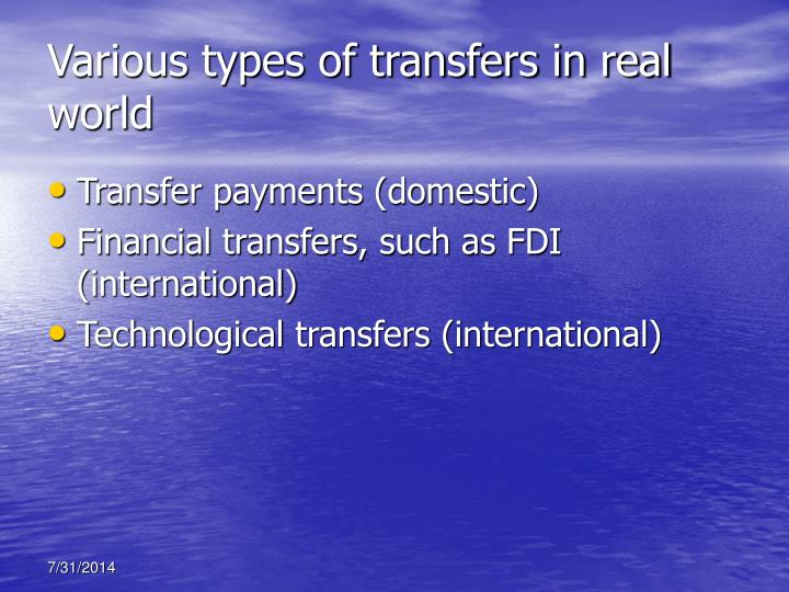 Various types of transfers in real world