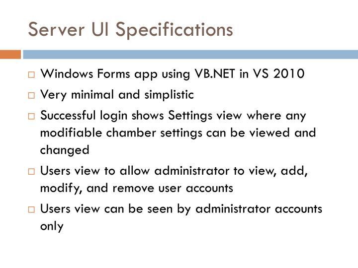 Server UI Specifications