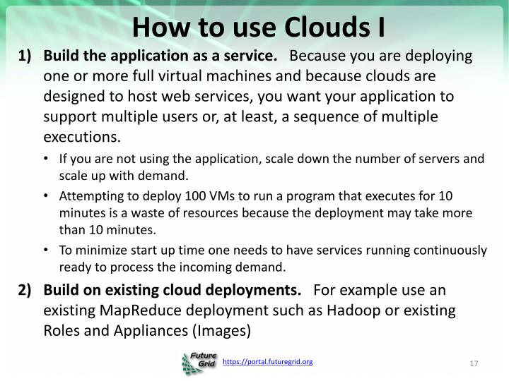 How to use Clouds I
