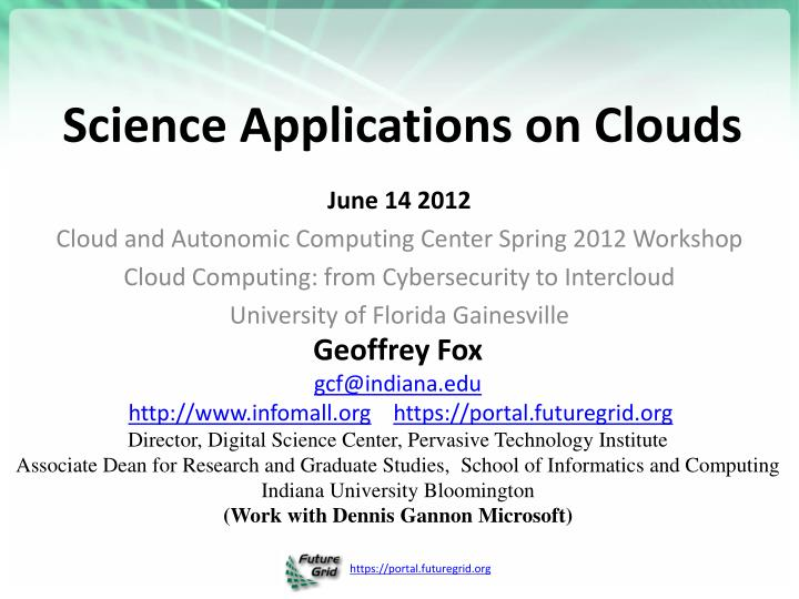 Science applications on clouds