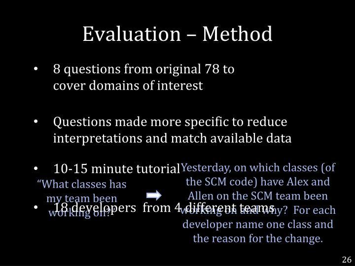 Evaluation – Method