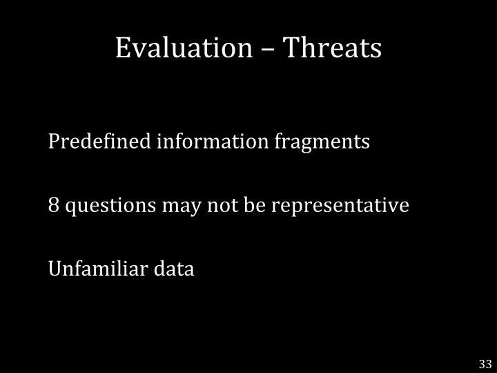 Evaluation – Threats