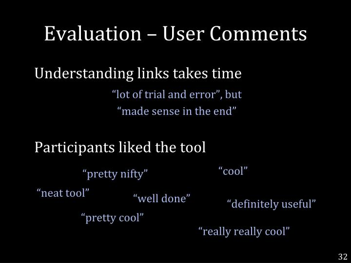 Evaluation – User Comments