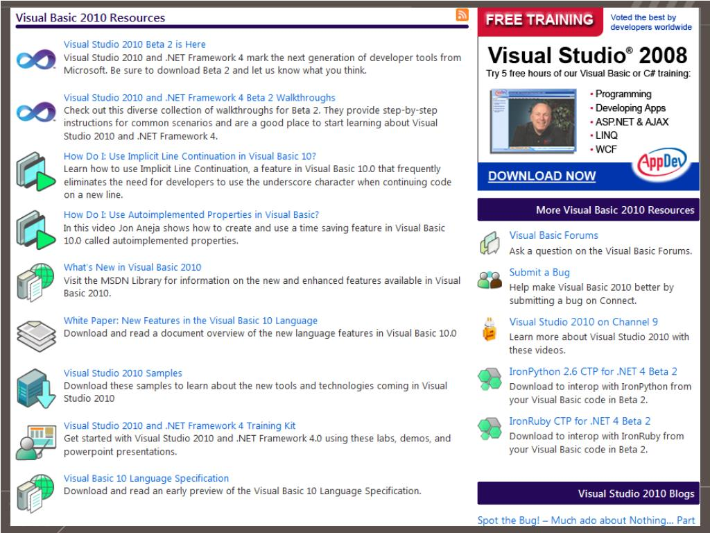 PPT - A Lap Around Visual Studio 2010 for the Visual Basic