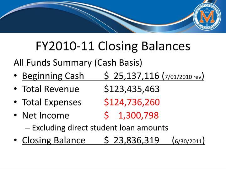 FY2010-11 Closing Balances