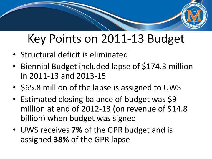 Key Points on 2011-13 Budget