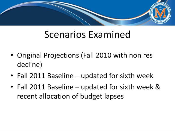 Scenarios Examined