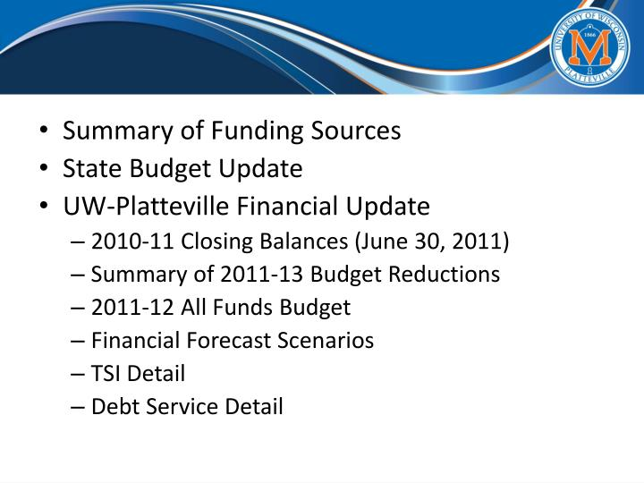 Summary of Funding Sources