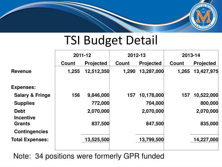 TSI Budget Detail