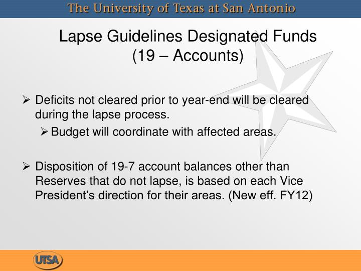 Lapse guidelines designated funds 19 accounts