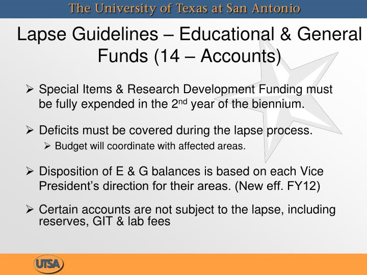 Lapse guidelines educational general funds 14 accounts