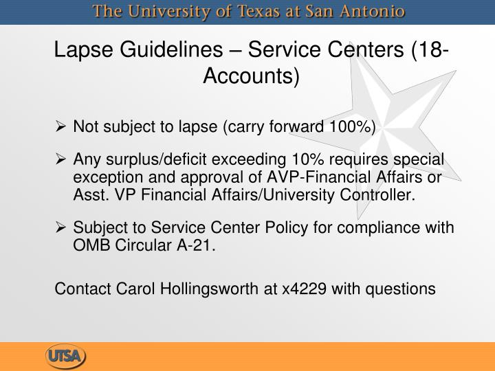 Lapse Guidelines – Service Centers (18- Accounts)
