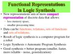 functional representations in logic synthesis