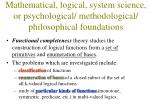 mathematical logical system science or psychological methodological philosophical foundations