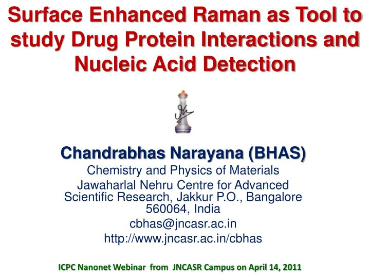 surface enhanced raman as tool to study drug protein interactions and nucleic acid detection n.