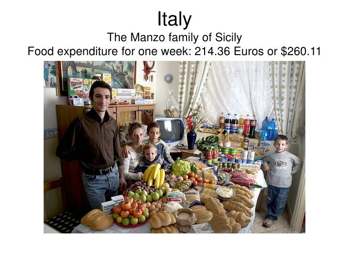 Italy the manzo family of sicily food expenditure for one week 214 36 euros or 260 11