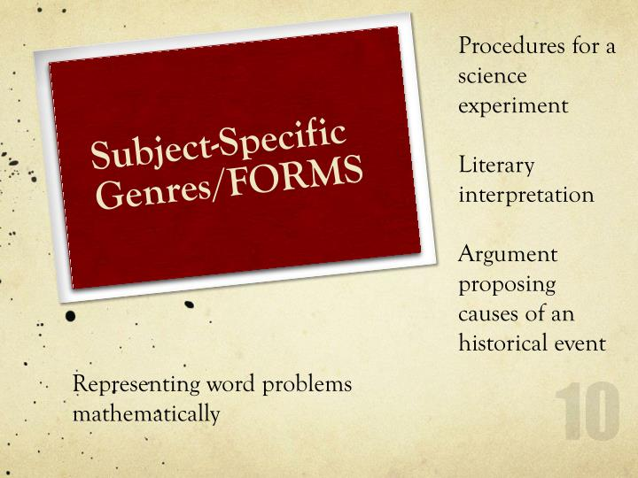 Procedures for a science experiment