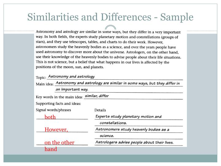 Similarities and Differences - Sample