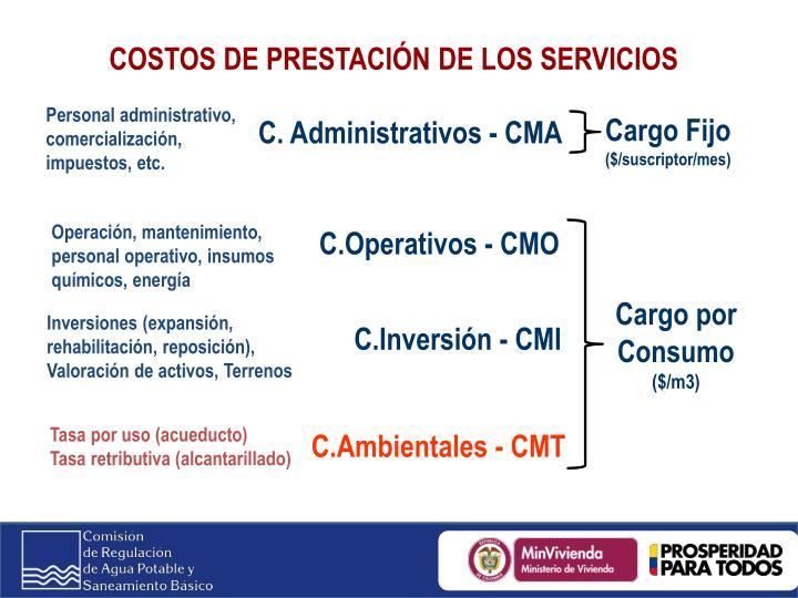 COSTOS DE PRESTACIÓN DE LOS SERVICIOS