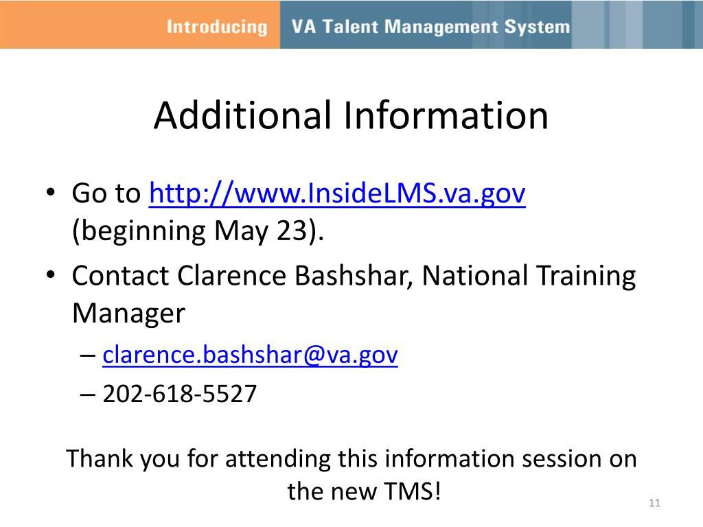 PPT - New VA Talent Management System (TMS) PowerPoint Presentation