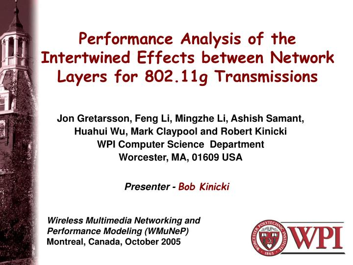 performance analysis of the intertwined effects between network layers for 802 11g transmissions n.