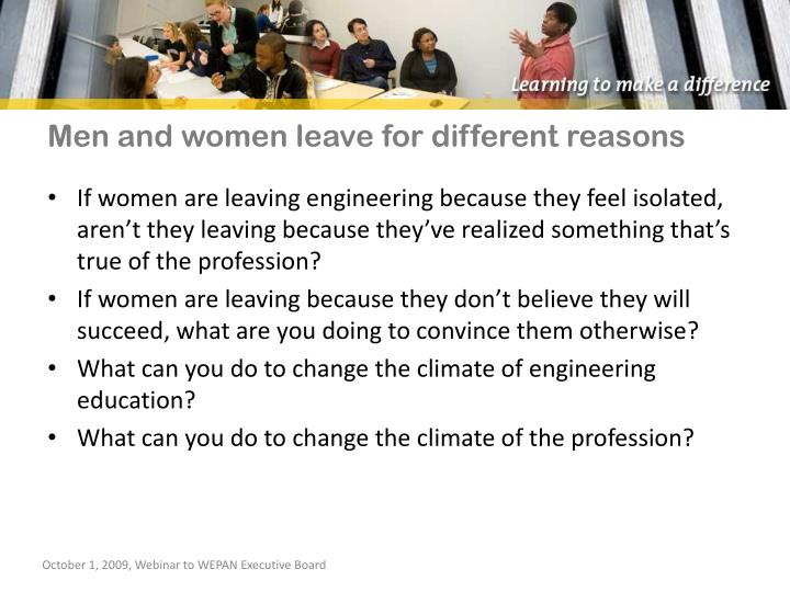 Men and women leave for different reasons