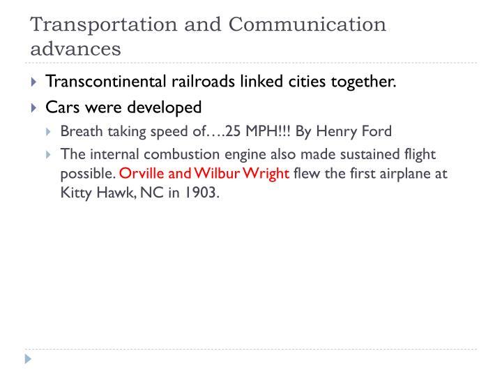 Transportation and Communication advances