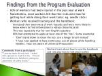 findings from the program evaluation