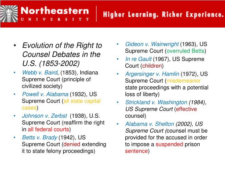 Evolution of the Right to Counsel Debates in the U.S. (1853-2002)