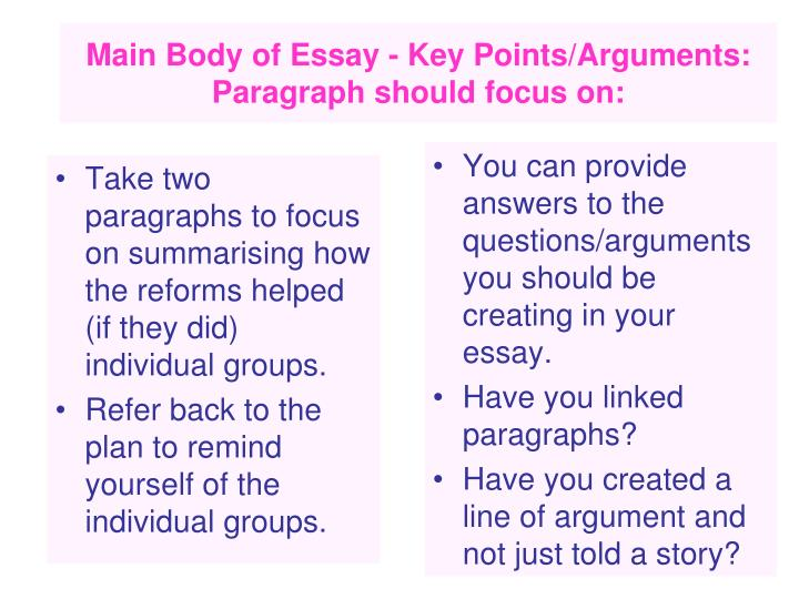 Take two paragraphs to focus on summarising how the reforms helped (if they did) individual groups.