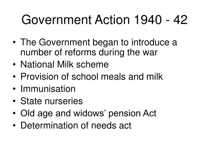 Government Action 1940 - 42