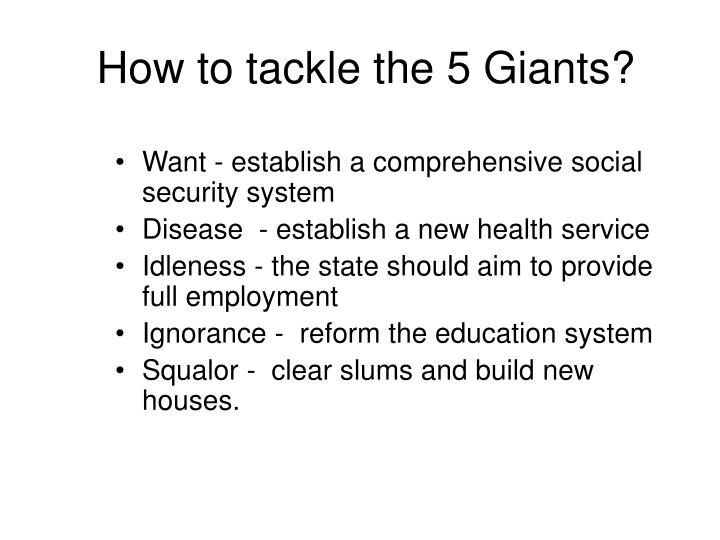 How to tackle the 5 Giants?