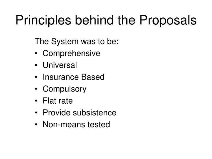 Principles behind the Proposals