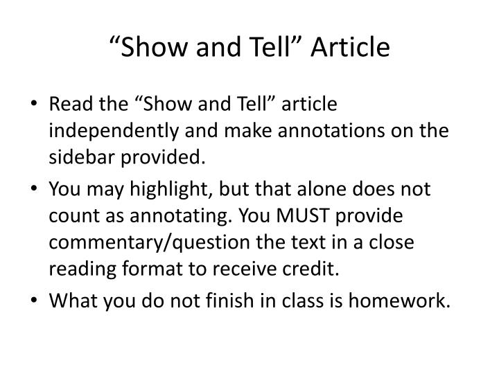 """""""Show and Tell"""" Article"""