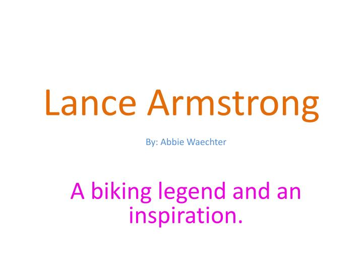 Lance armstrong by forrest. Table of contents title page lances.