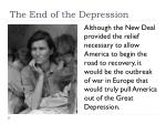 the end of the depression