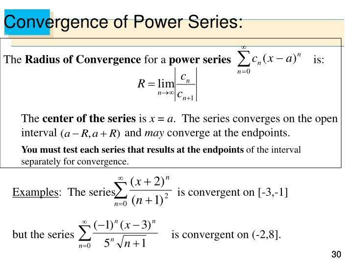 Convergence of Power Series: