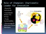 role of champion charismatic leader for innovation