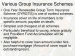various group insurance schemes