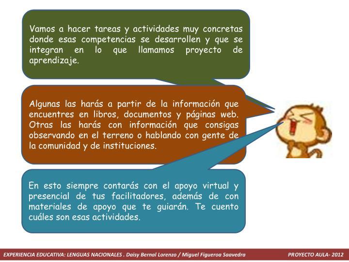 Vamos a hacer tareas y actividades muy concretas donde esas competencias se desarrollen y que se integran en lo que llamamos proyecto de aprendizaje.