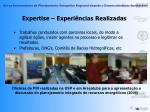 expertise experi ncias realizadas