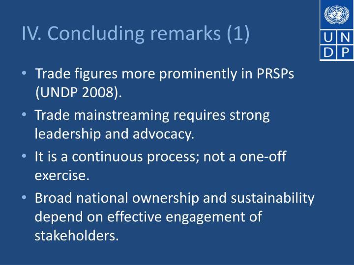 IV. Concluding remarks (1)