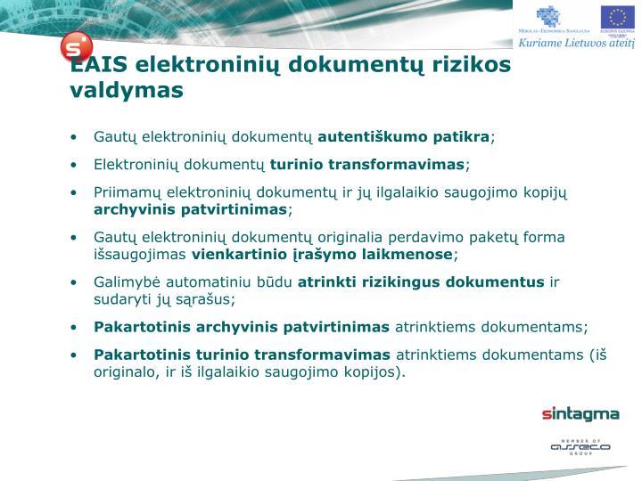 EAIS elektroninių dokumentų rizikos valdymas