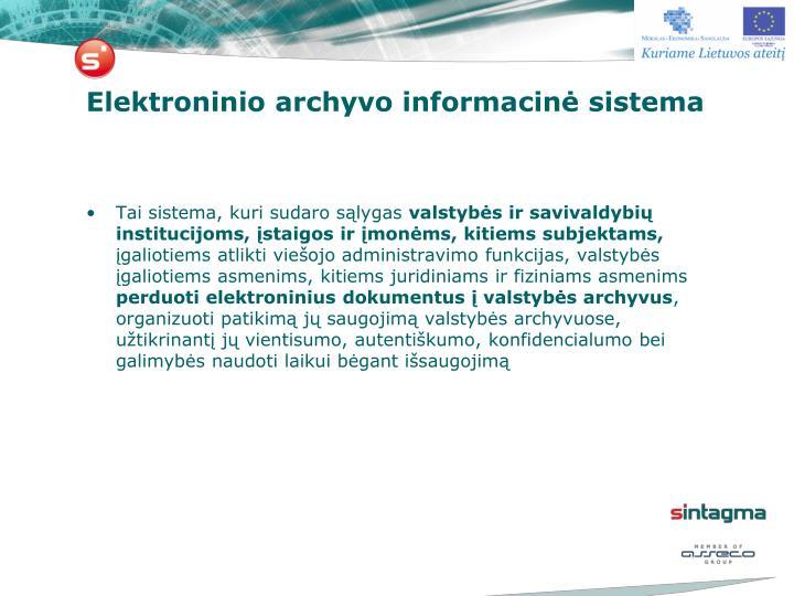 Elektroninio archyvo informacin sistema