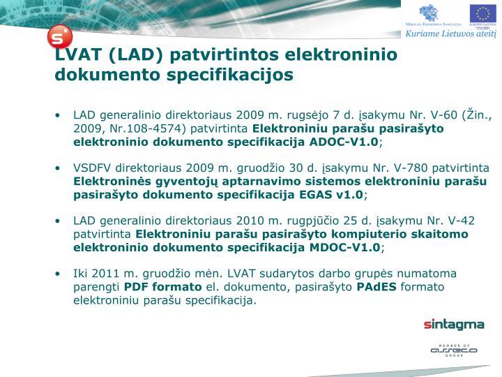 LVAT (LAD) patvirtintos elektroninio dokumento specifikacijos