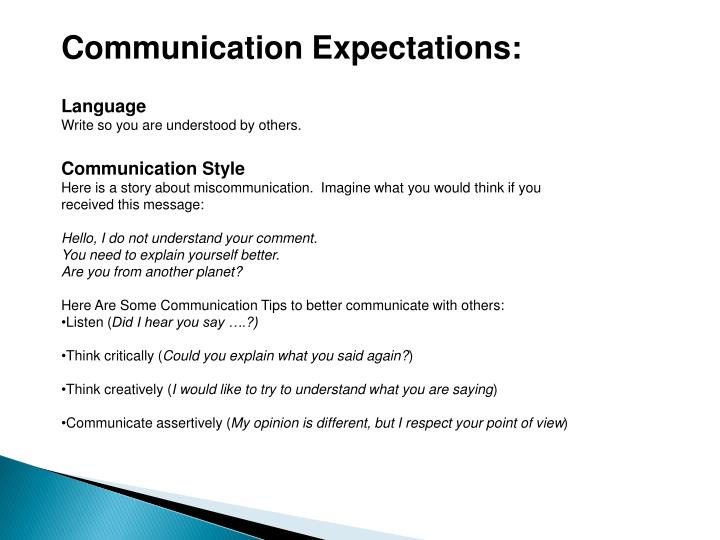 Communication Expectations:
